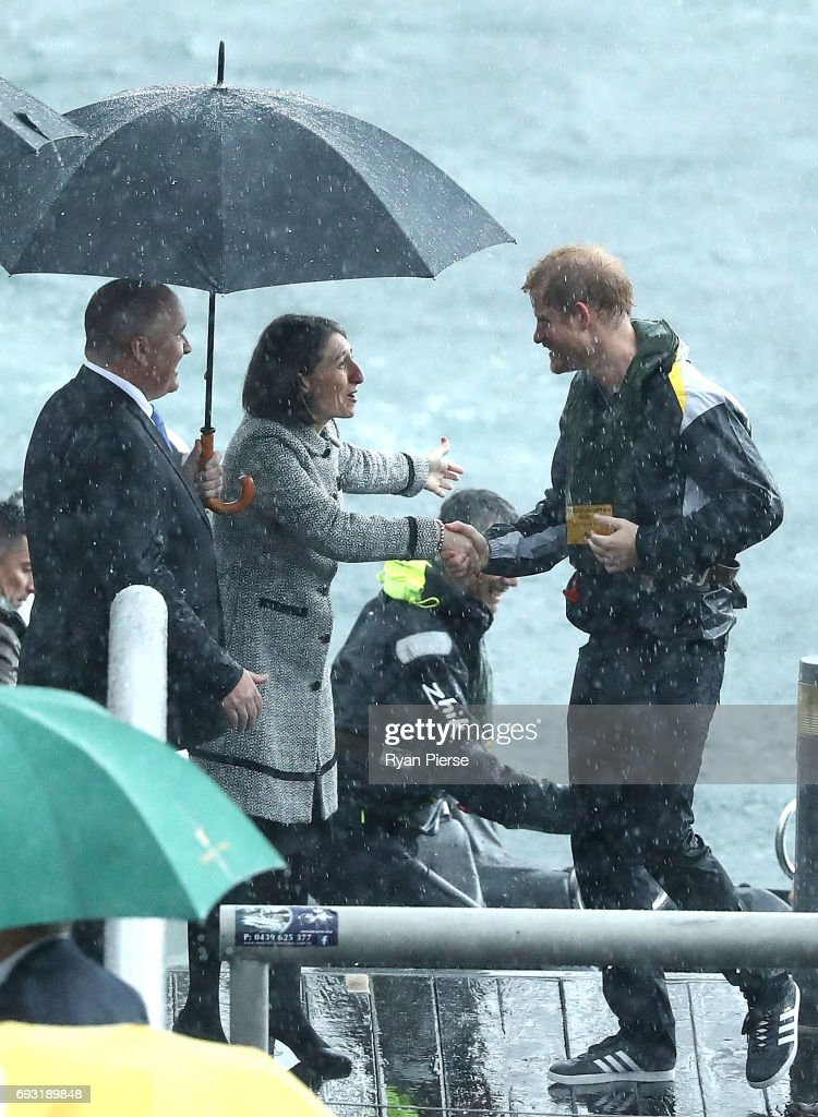 Prince Harry is met by NSW Premier Gladys Berejiklian at Campbells Cove on June 7, 2017 in Sydney, Australia. Prince Harry is on a two-day visit to Sydney for the launch of the Invictus Games Sydney 2018. The fourth Invictus Games will be held in Sydney from 20th to 27th October, 2018 and will include over 500 competitors from 17 nations competing in 10 adaptive sports events.