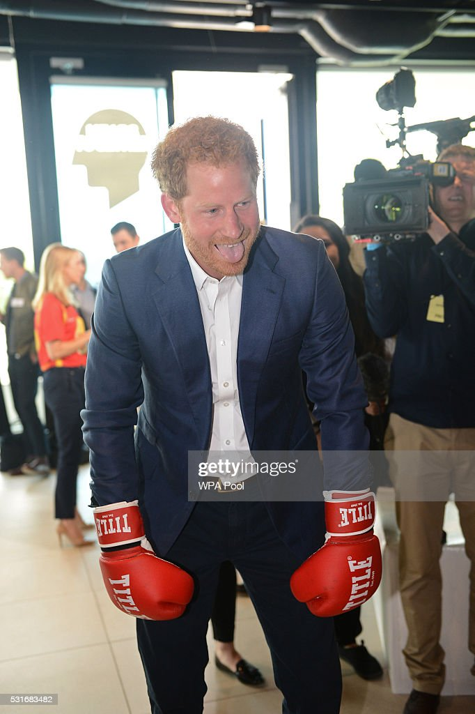Prince Harry is seen boxing at Queen Elizabeth Olympic Park during the launch of the Heads Together campaign on mental health on May 16, 2016 in London, England.