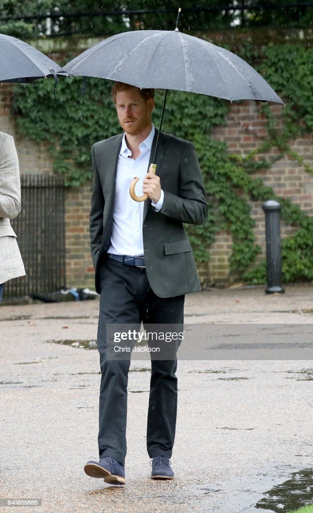 Prince Harry is seen during a visit to The Sunken Garden at Kensington Palace on August 30, 2017 in London, England. The garden has been transformed into a White Garden dedicated in the memory of Princess Diana, mother of The Duke of Cambridge and Prince Harry.