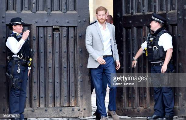 Prince Harry is seen during a walkabout in Windsor on the eve of the wedding at Windsor Castle on May 18 2018 in Windsor England