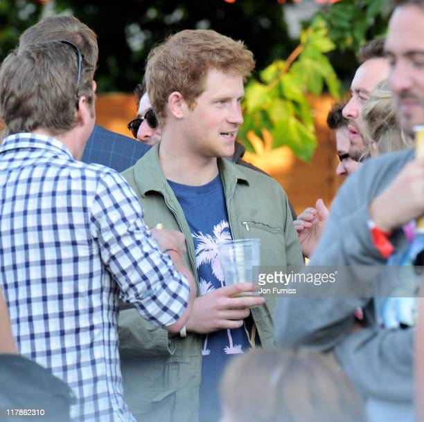 Prince Harry is seen during the first day of the Barclaycard Wireless Festival 2011 at Hyde Park on July 1 2011 in London England