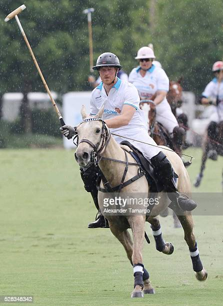 Prince Harry is seen participating in the Sentebale Royal Salute Polo Cup on May 4 2016 in Wellington Florida