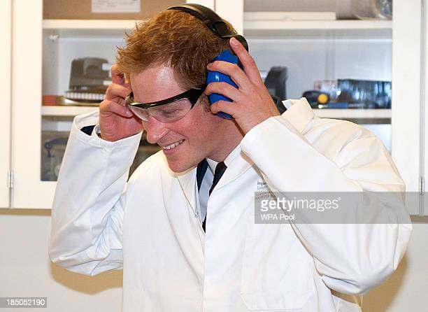 Prince Harry is shown around the the 'Shock Tube' Laboratory where he was shown simulations of blast shockwaves and their effects on cells during the...