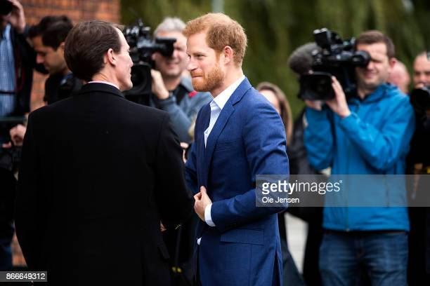 Prince Harry is welcome by Danish Prince Joachim to the Danish Defence Center for Military Physical Training at Svanemoellen Barracks during his two...