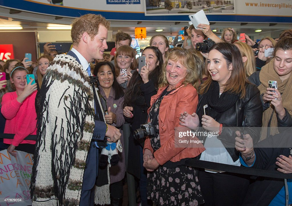 Prince Harry is welcomed after landing in Invercargill on his way to Stewart Island as part of his first visit to New Zealand on May 10, 2015 in Invercargill, New Zealand. Prince Harry is in New Zealand from May 9 through to May 16 attending events in Wellington, Invercargill, Stewart Island, Christchurch, Linton, Whanganui and Auckland.