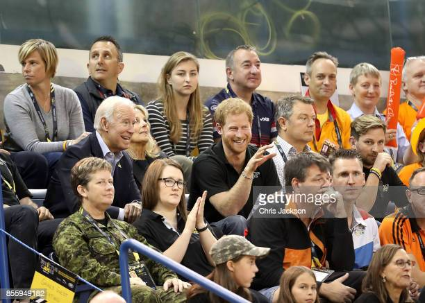 Prince Harry Joe Biden and Jill Biden cheer on the teams as the USA compete against the Netherlands in the Wheelchair Basketball Finals during the...