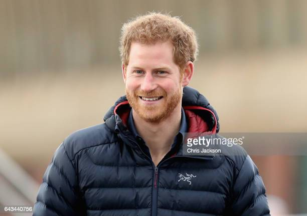 Prince Harry joins team Heads Together runners at the Quayside for a marathon training session on February 21 2017 in Newcastle United Kingdom