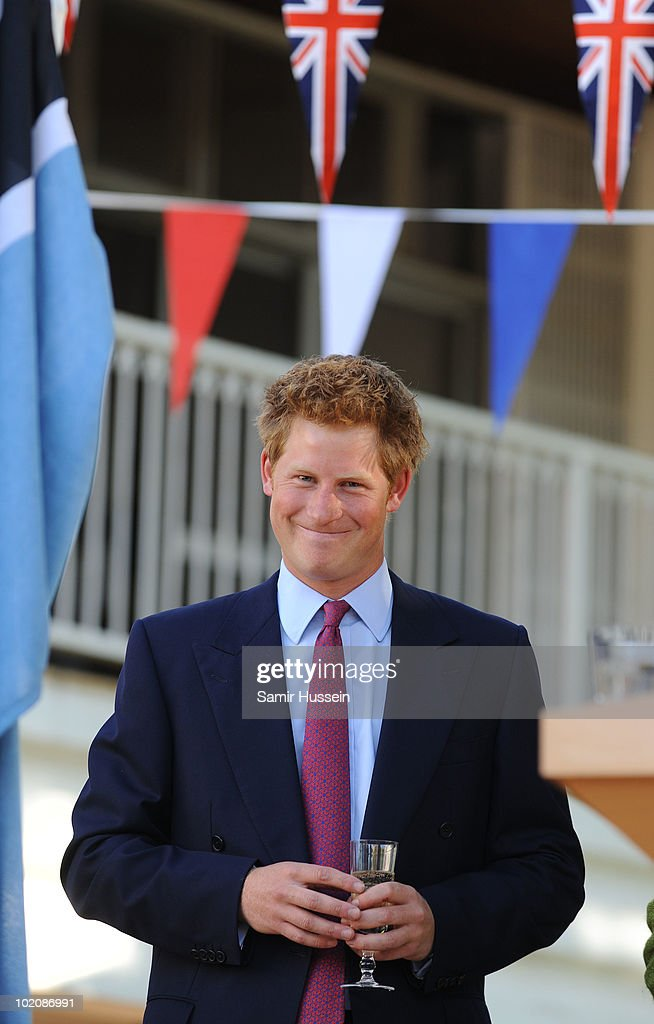 Prince Harry jokes expressively during a reception at the British High Commission on June 14, 2010 in Gaborone, Botswana. Harry arrived ahead of his older brother Prince William for a joint tour of Southern Africa.