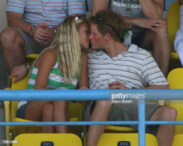 Prince Harry kisses his girlfriend Chelsy Davy during the ICC Cricket World Cup 2007 Super Eight match between England and Australia at the Sir...
