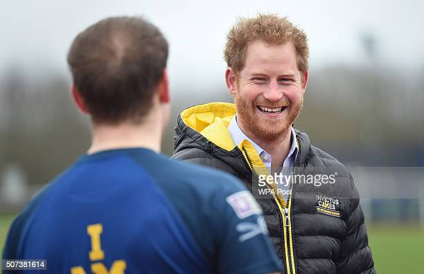 Prince Harry laughs as he attends the Invictus Games Orlando British team trials at the University of Bath on January 29 2016 in Bath England