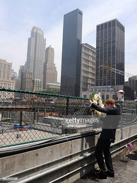 Prince Harry lays a wreath as he pays his respects at the World Trade Centre site on May 29 2009 in New York Prince Harry is on a two day visit to...