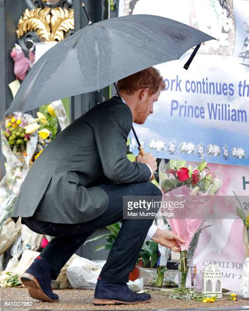 Prince Harry lays flowers given to him by a member of the public at the gates of Kensington Palace in tribute to Diana Princess of Wales after...