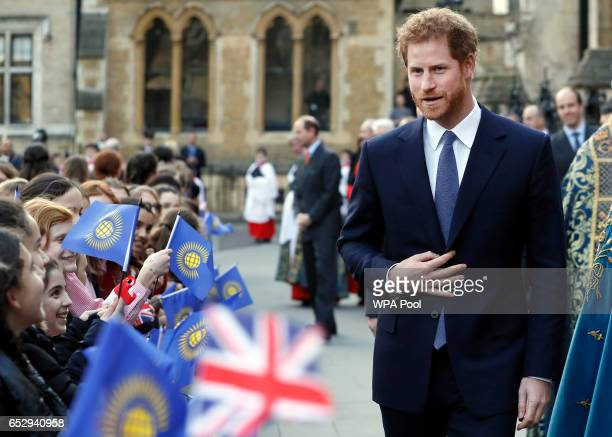 Prince Harry leaves after a Commonwealth Day Service at Westminster Abbey on March 13 2017 in London United Kingdom