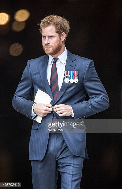 Prince Harry leaves after a service marking the 75th anniversary of Explosive Ordnance Disposal across the British Armed Forces at St Paul's...