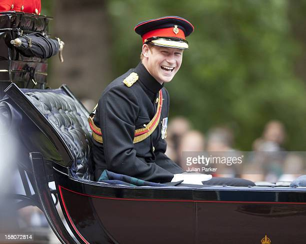 Prince Harry Leaves Buckingham Palace In Central London On Their Way To The Annual Trooping The Colour.