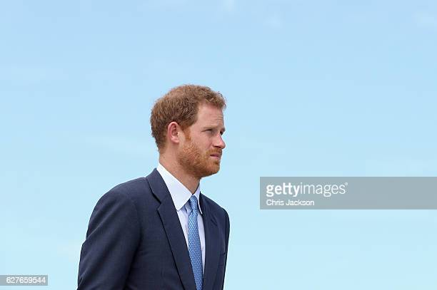 Prince Harry leaves Eugene F Correia International Airport on the final morning of an official visit to the Caribbean on December 4 2016 in...
