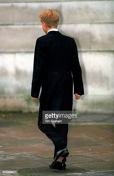 Prince Harry Leaves His School House For His First Day Of Lessons At Eton College He Is Wearing The Traditional Eton Tail Coat