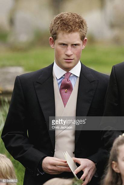 Prince Harry leaves the wedding of Laura Parker Bowles to Harry Lopes at St Cyriac's Church Lacock on May 6 2006 in Wiltshire England 26year old...