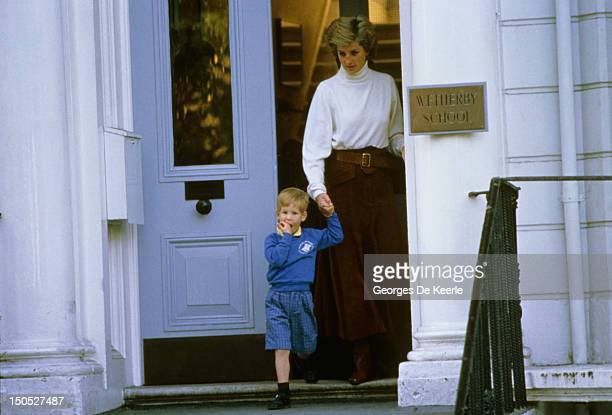 Prince Harry leaves Wetherby School with his mother Princess Diana on 1987 circa in London