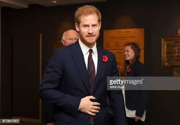Prince Harry looks on ahead of the Rugby Union International match between England and Argentina at Twickenham Stadium on November 11 2017 in London...