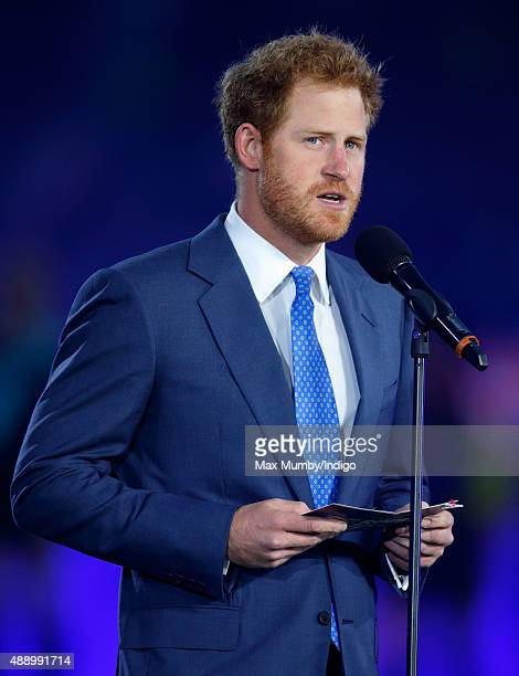 Prince Harry make a speech as he attends the Opening Ceremony and first match of the Rugby World Cup 2015 between England and Fiji at Twickenham...