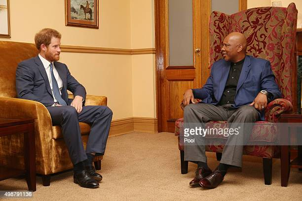 Prince Harry makes a courtesy call on King Letsie III at the King's palace as he begins his visit to the region where he will name two buildings at...