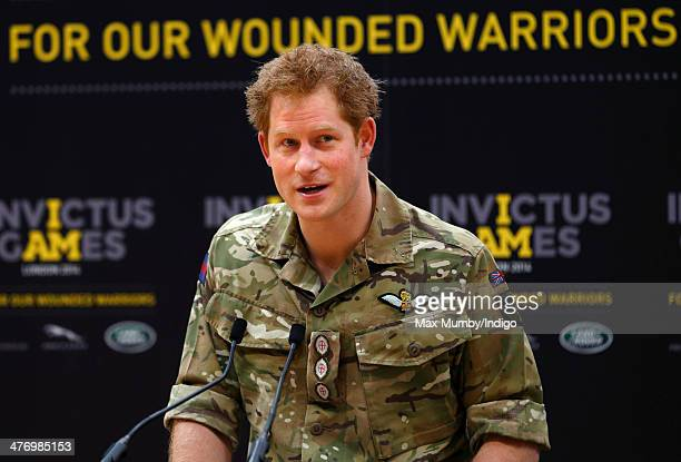 Prince Harry makes a speech as he attends the launch of the Invictus Games at the Copper Box Arena in the Queen Elizabeth Olympic Park on March 6...