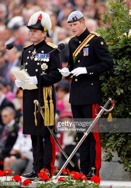 Prince Harry makes a speech as he reviews the annual Chelsea Pensioners Founders Day Parade at Royal Hospital Chelsea on June 9 2011 in London England