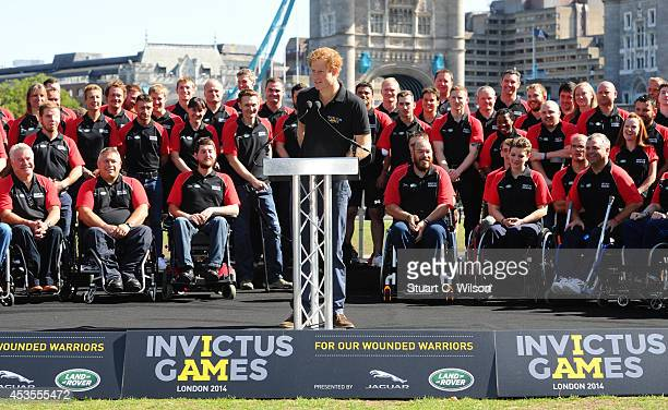 Prince Harry makes a speech as he unveils the British Armed Forces Team For The Invictus Games at Potters Field Park on August 13 2014 in London...