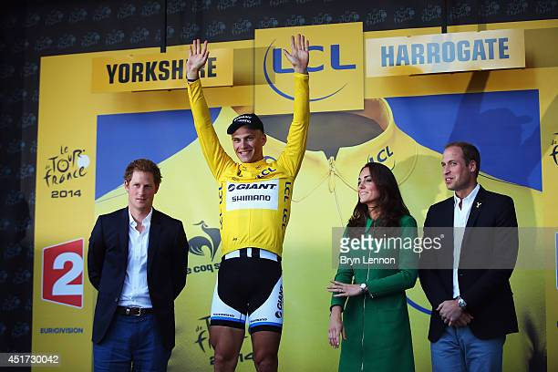Prince Harry, Marcel Kittel of Germany and Giant Shimano, Catherine, Duchess of Cambridge, and William Duke of Cambridge stand on the podium afterthe...