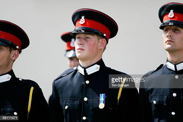 Prince Harry marches with fellow army cadets at Sandhurst Royal Military Academy on June 21 2005 in Sandhurst England
