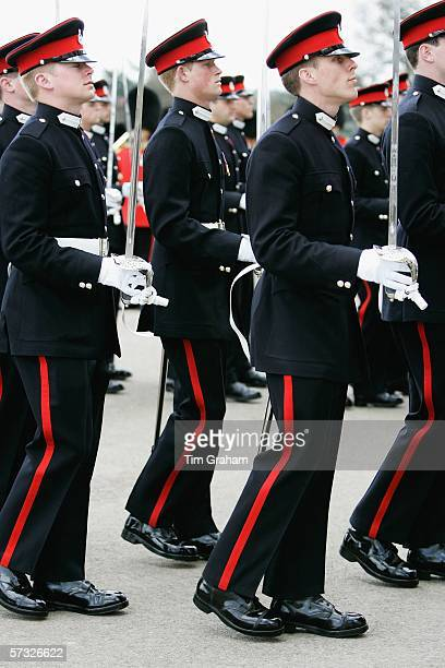 Prince Harry marches with fellow soldiers in the Sovereign's Parade at Sandhurst Military Academy, passing-out as commissioned officer Second...