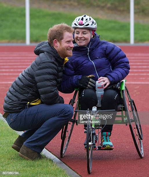Prince Harry meets a competitor at the UK team trials for the Invictus Games Orlando 2016 at University of Bath on January 29 2016 in Bath England