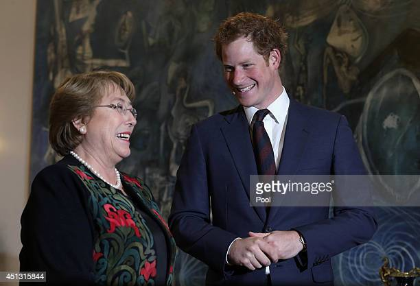 Prince Harry meets Chilean President Michelle Bachelet as he visits the La Moneda Presidential Palace on June 27 2014 in Santiago Chile Prince Harry...