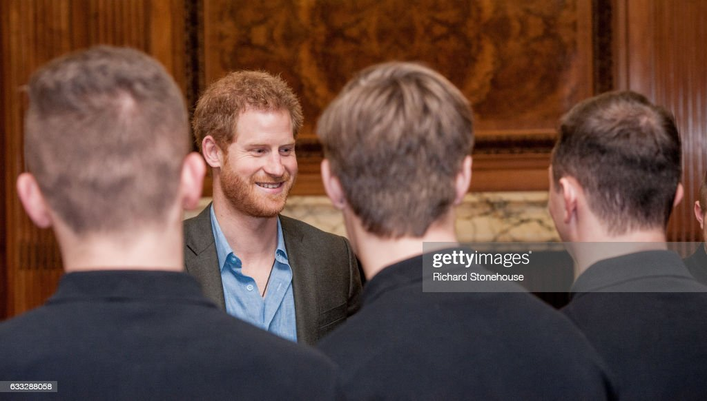 Prince Harry Meets Coach Core Graduates during an official visit to Full Effect & Coach Core on February 1, 2017 in Nottingham, England. Full Effect and Coach Core are projects supported by The Royal Foundation to improve opportunities for young people.