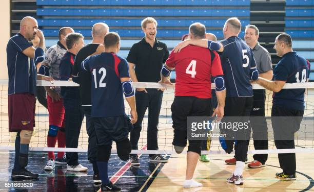 Prince Harry meets competitors as he visits Invictus Games sports training at Toronto Pan Am Sports Centreon day 1 of the Invictus Games Toronto 2017...