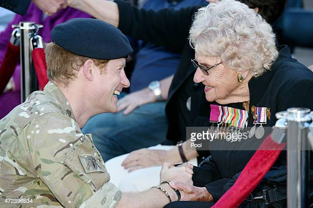 Prince Harry meets Daphne Dunne at the Sydney Opera House on May 7 2015 in Sydney Australia Prince Harry is visiting Sydney following a monthlong...