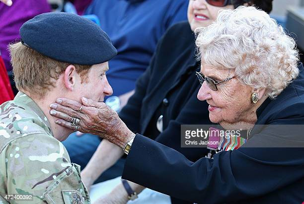 Prince Harry meets Daphne Dunne during a walkabout outside the Sydney Opera House on May 7 2015 in Sydney Australia Prince Harry is visiting Sydney...