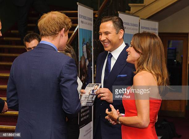 Prince Harry meets David Walliams and Natalie Pinkham at the Business in the Community 2014 Responsible Business Awards Gala Dinner at the Royal...