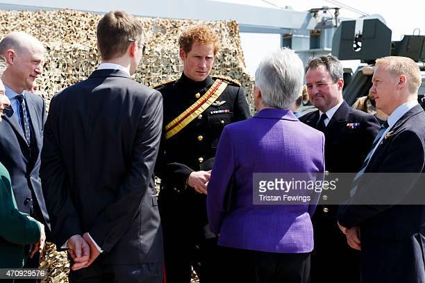 Prince Harry meets decendants of the Gallipoli campaign on HMS Bulwark on April 24 2015 in Seddulbahir Turkey Turkish and Allied powers...