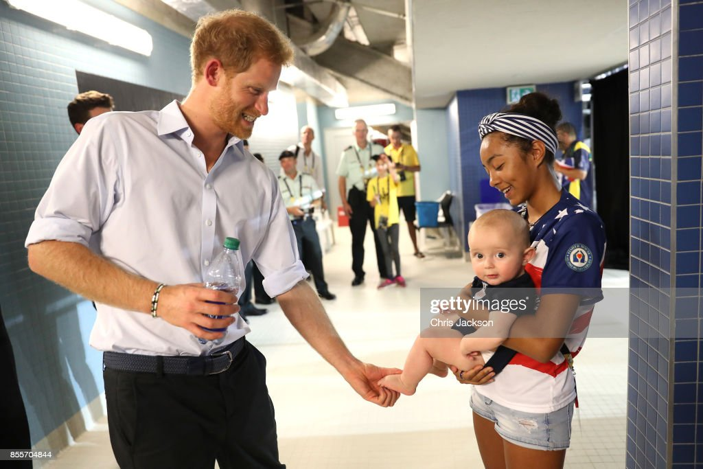 Prince Harry meets Jonathon Sawyer,7 at the Swimming Finals during Day Seven of the Invictus Games 2017 at Toronto Pan Am Sports Centre on September 29, 2017 in Toronto, Canada