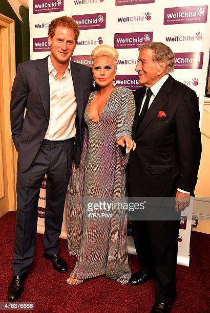 Prince Harry meets Lady Gaga and Tony Bennett prior to the Gala Concert in aid of WellChild at Royal Albert Hall on June 8 2015 in London England