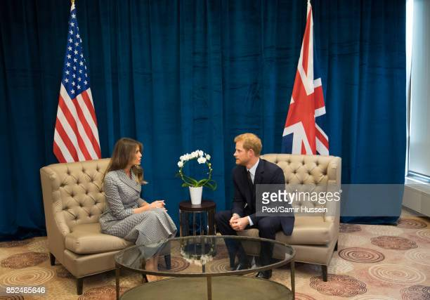 Prince Harry meets Melania Trump on day 1 of the Invictus Games Toronto 2017 on September 23 2017 in Tornonto Canada The Games use the power of sport...
