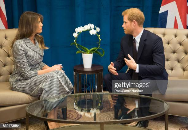 Prince Harry meets Melania Trump on day 1 of the Invictus Games Toronto 2017 on September 23, 2017 in Tornonto, Canada. The Games use the power of...