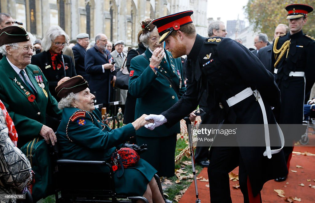 Prince Harry meets members of the armed forces and veterans during a Service in the Field of Remembrance at Westminster Abbey on November 5, 2015 in London, England.