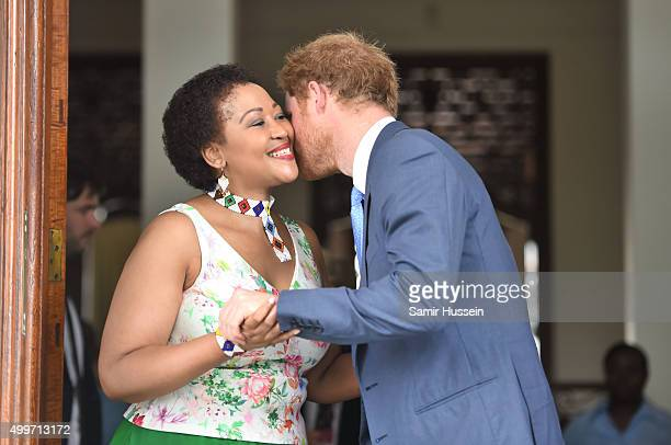 Prince Harry meets Mrs Tobeka Madiba Zuma the wife South African President Jacob Zuma at their home during an official visit to Africa on December 3...