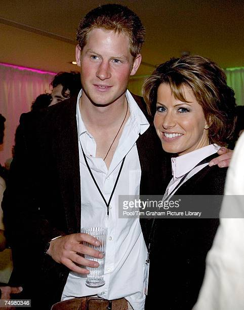 Prince Harry meets news presenter Natasha Kaplinsky at the after concert party the Princes hosted to thank all who took part in the 'Concert for...