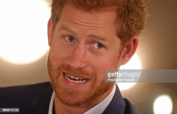 Prince Harry meets people involved in the One of Us campaign, which aims to raise awareness of mental health, at a bakery in Hellerup, Copenhagen,...