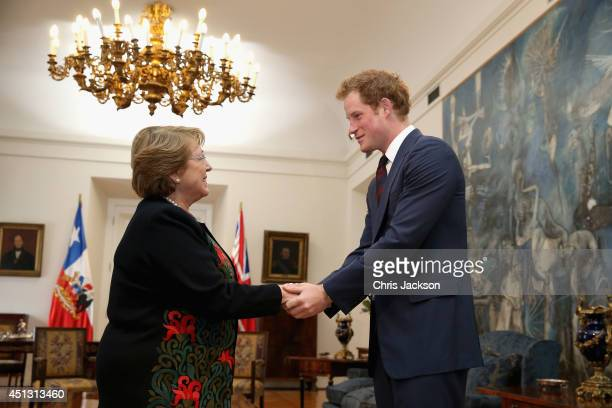 Prince Harry meets President of Chile Michelle Bachelet in the La Moneda Presidential Palace on June 27 2014 in Santiago Chile Prince Harry is on a...