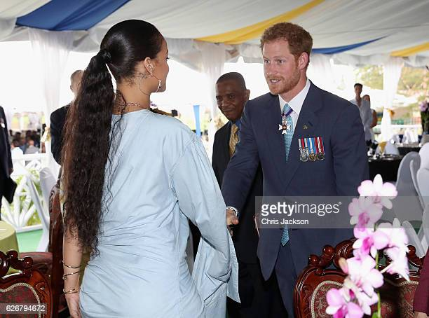 Prince Harry meets Rihanna at a Toast to the Nation Event on day 10 of an official visit to the Caribbean on November 30 2016 in Bridgetown Barbados...